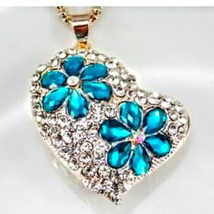 Betsey Johnson Crystal Heart Necklace